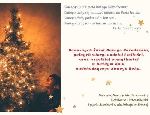 Życzenia z okazji Świąt Bożego Narodzenia 2020.