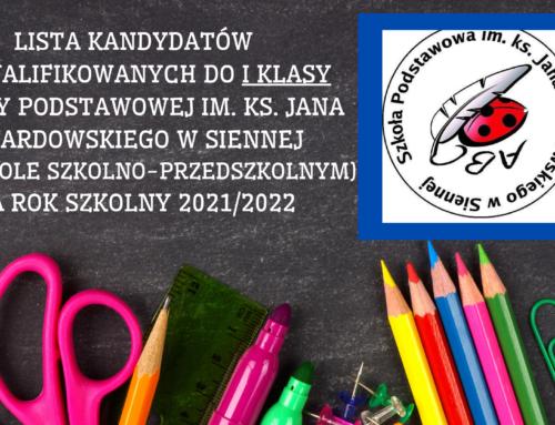Lista kandydatów zakwalifikowanych doIklasy Szkoły Podstawowej im.ks.Jana Twardowskiego wSiennej (wZespole Szkolno-Przedszkolnym) narok szkolny 2021/2022